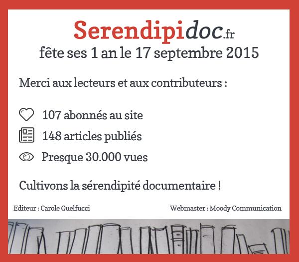 Le 17/09/2015 Sérendipidoc fête ses 1 an !